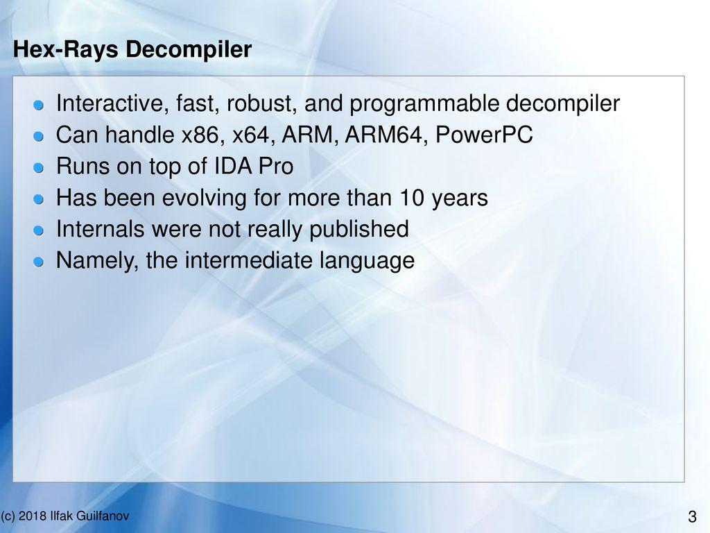Decompiler internals: microcode - ppt download