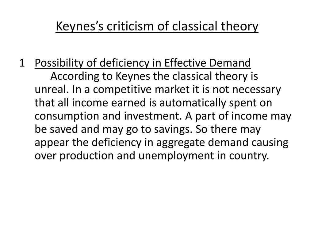 criticism of classical theory