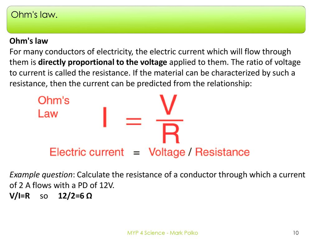 Electricity Circuits And Ohms Law Ppt Download The Resistance Can Be Used To Work Out Voltages Currents 10