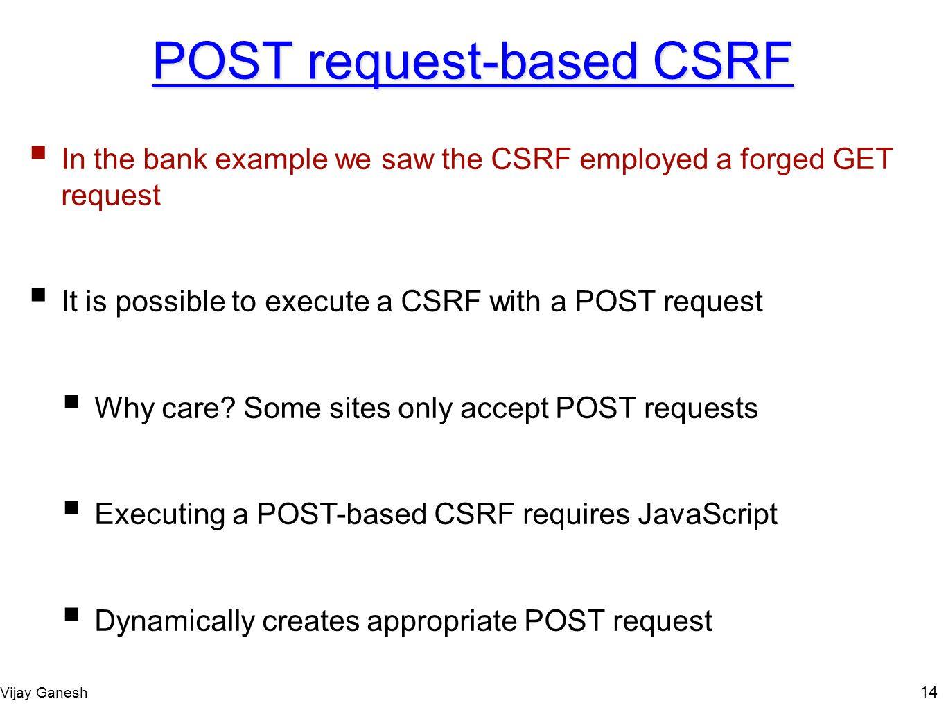 POST request-based CSRF
