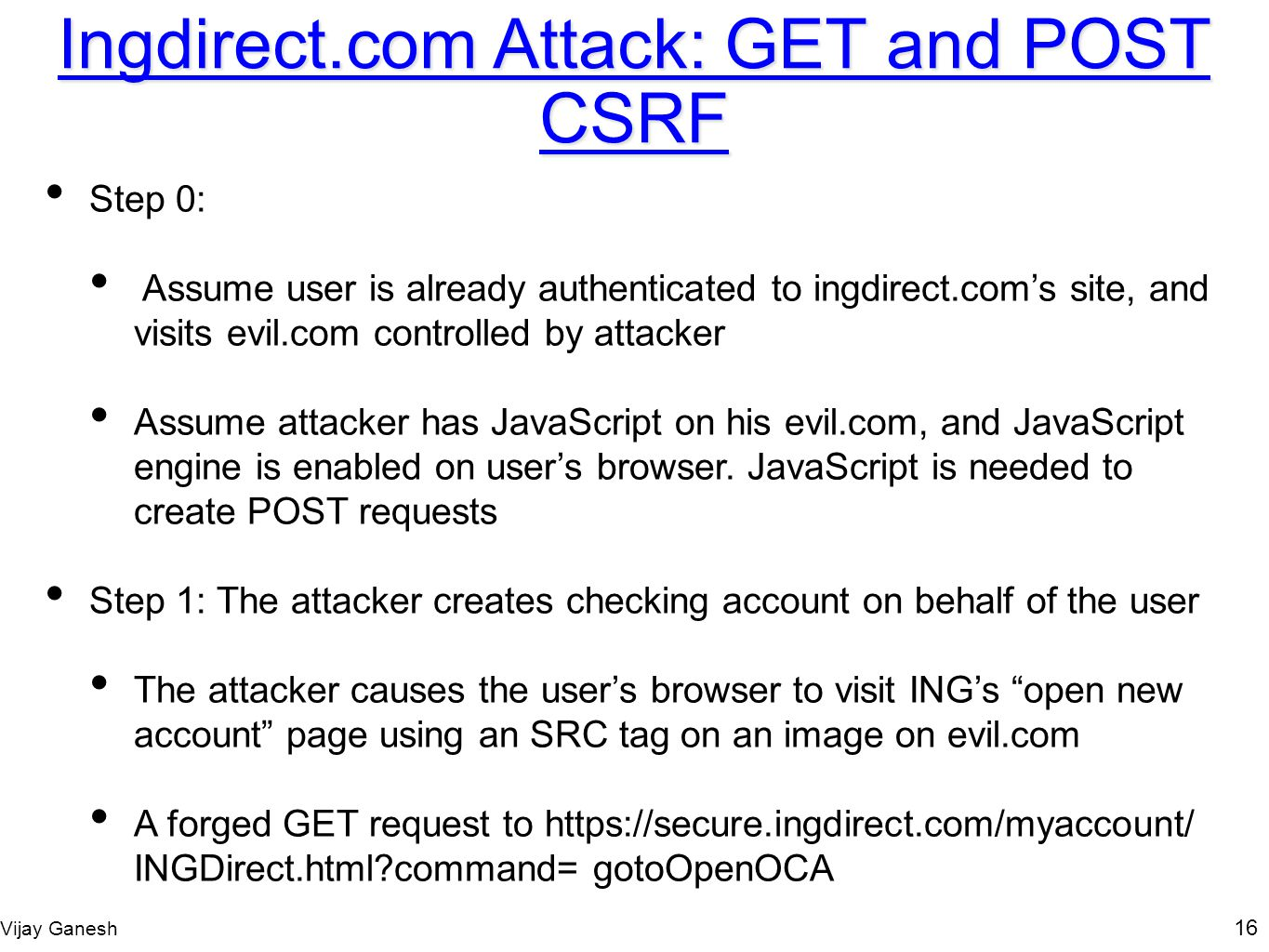 Ingdirect.com Attack: GET and POST CSRF