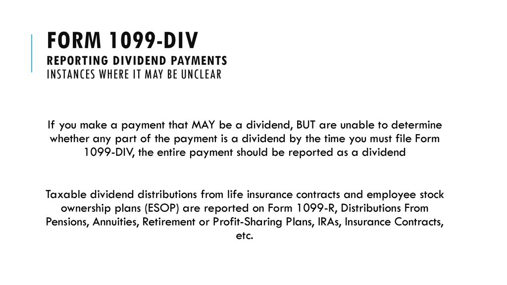 Irs form 1099-div: Reporting dividend payments - ppt download