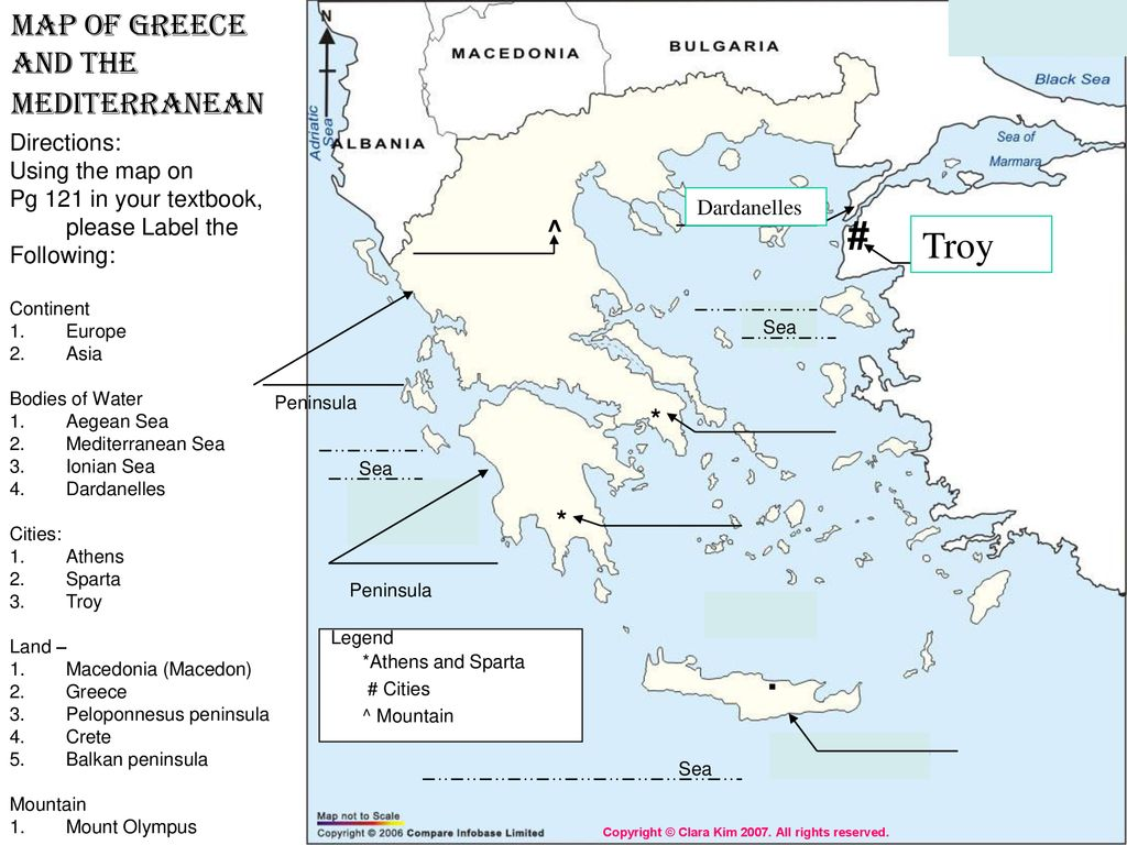 Troy Map Of Greece And The Mediterranean Directions Ppt