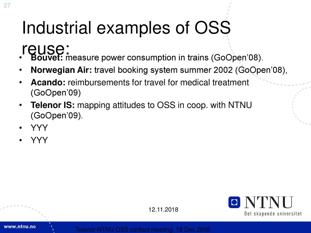 NTNU activities in Open Source Software (OSS): ideas for