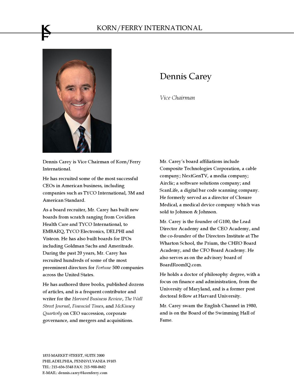 Dennis Carey Vice Chairman