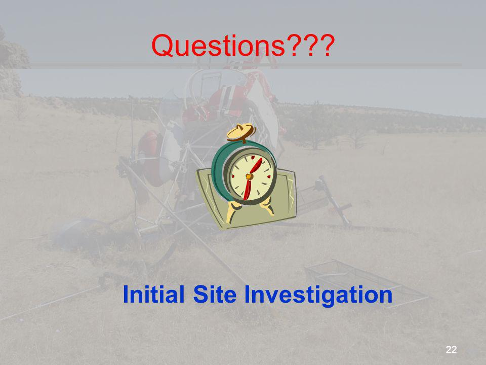 Questions Initial Site Investigation