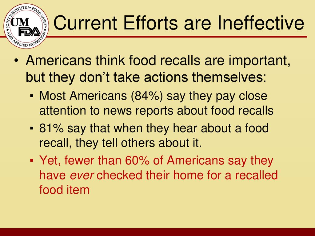 Motivating Consumers To Respond Appropriately To Food Recalls Ppt