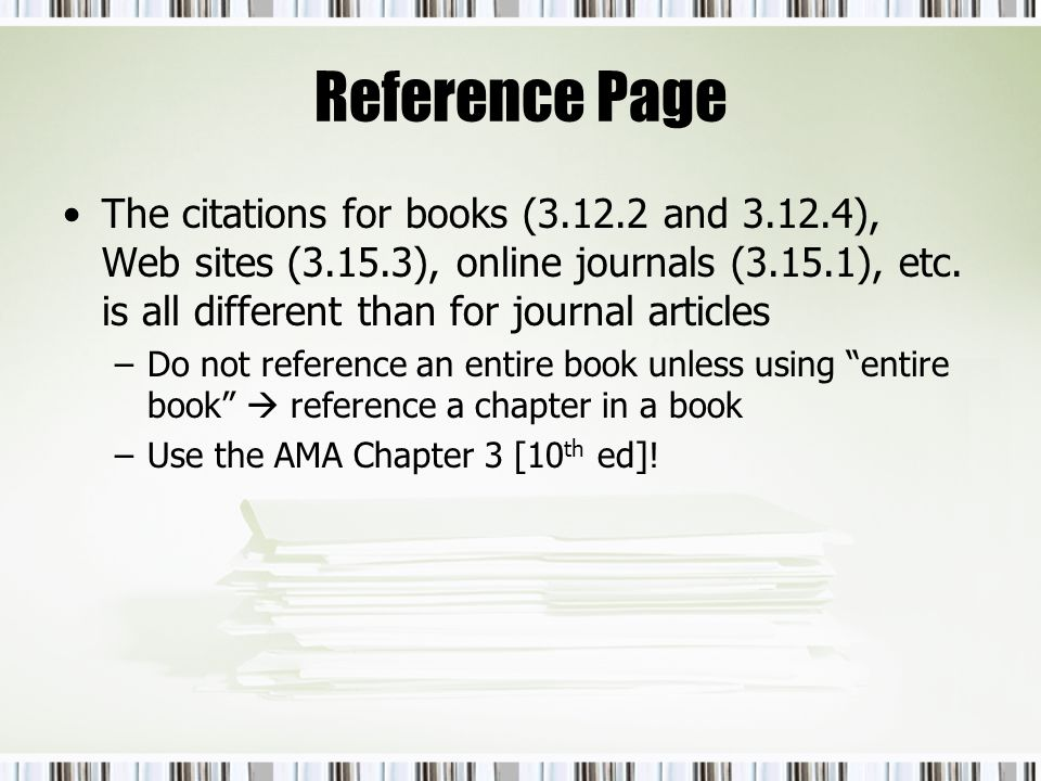 sample ama reference page