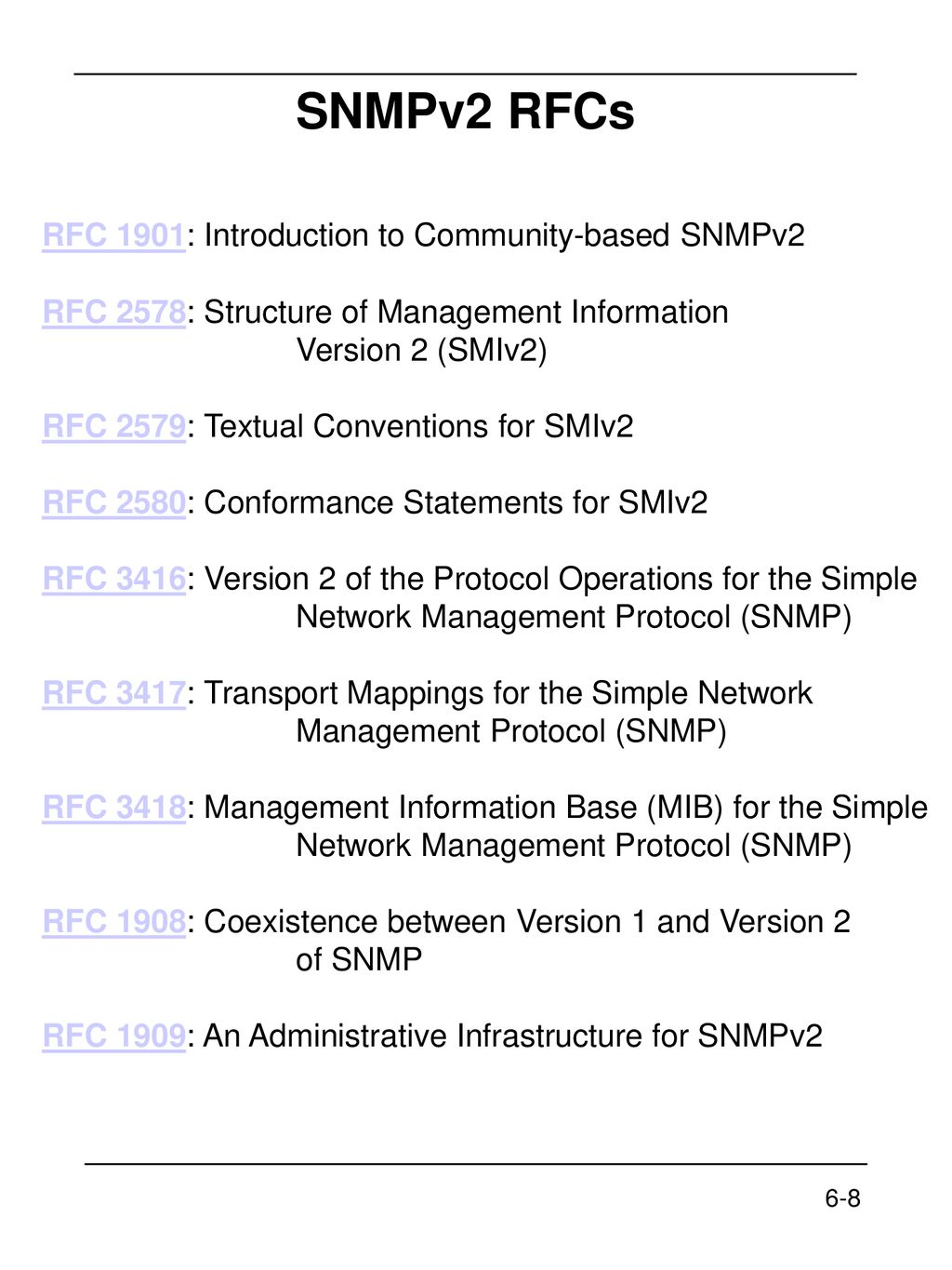 Chapter 6 SNMPv2 6-1 Network Management: Principles and