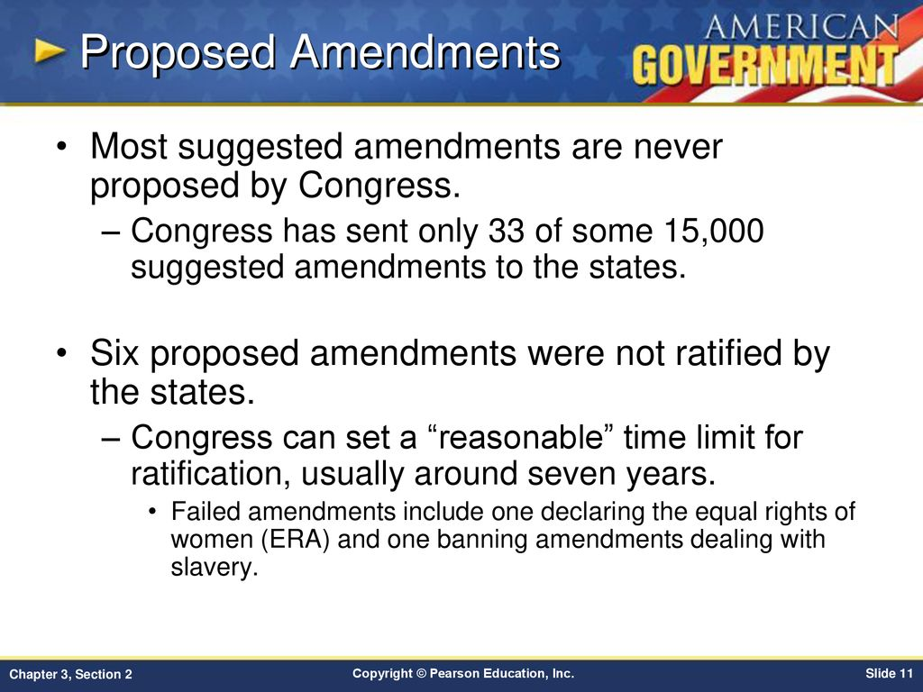 Proposed Amendments Most Suggested Amendments Are Never Proposed By Congress
