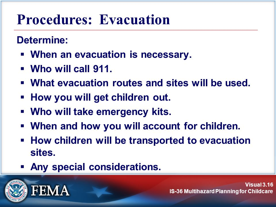 Procedures: Evacuation
