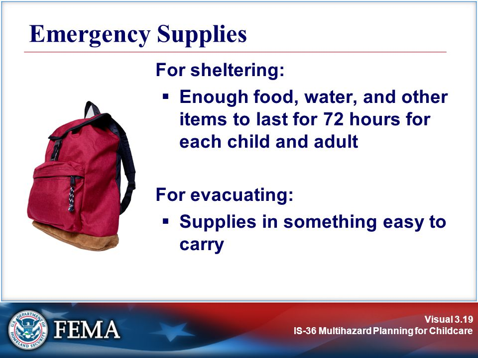 Emergency Supplies For sheltering: