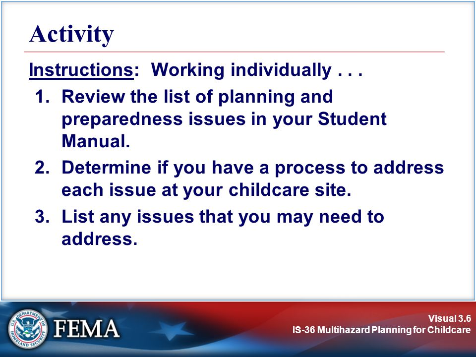 Activity Instructions: Working individually . . .