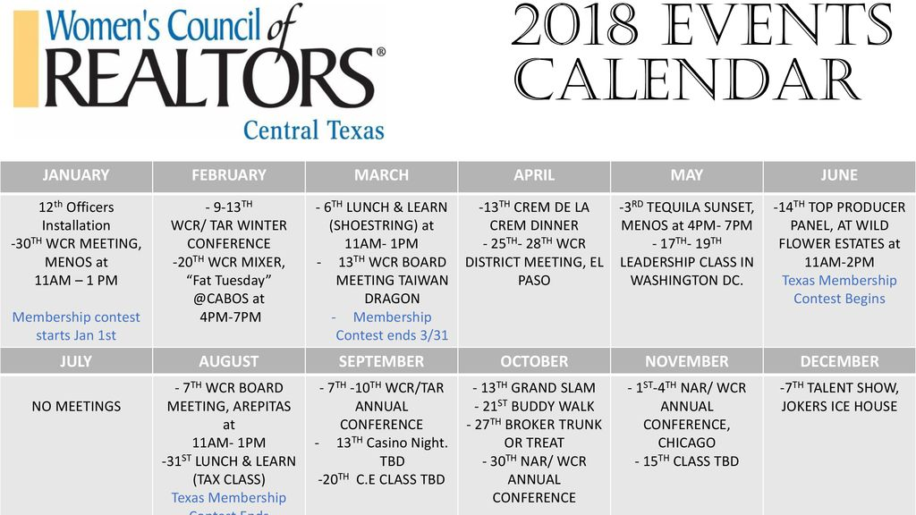 2018 Events Calendar JANUARY FEBRUARY MARCH APRIL MAY JUNE
