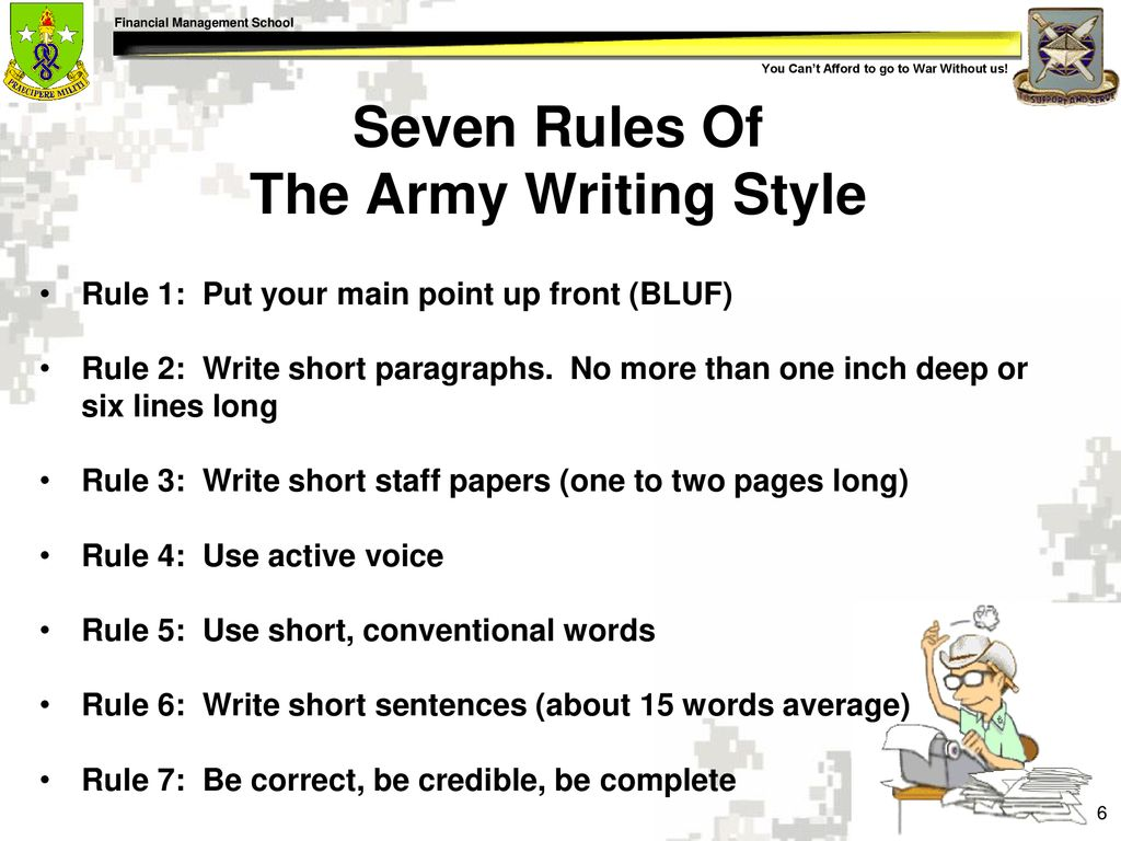 army writing style rules