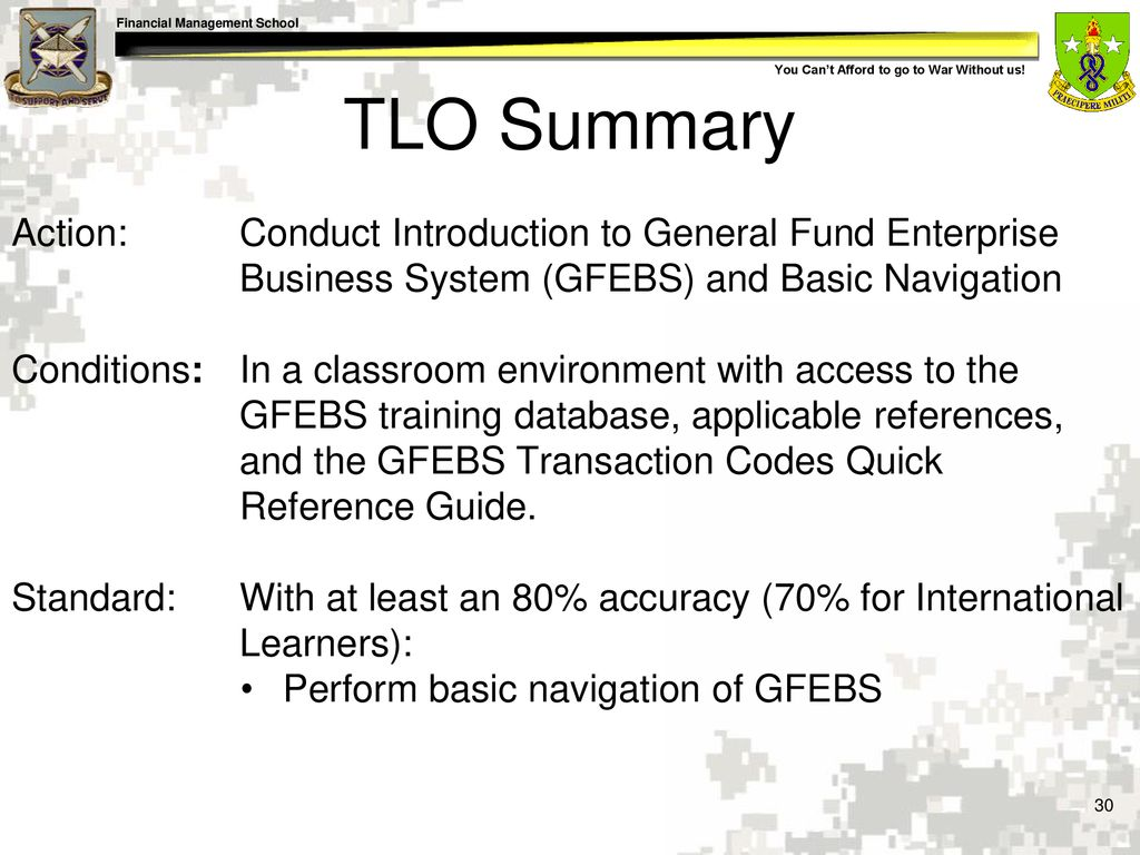 TLO Summary Action: Conduct Introduction to General Fund Enterprise  Business System (GFEBS) and