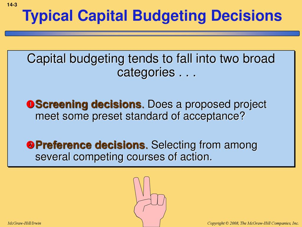 capital budgeting screening decisions