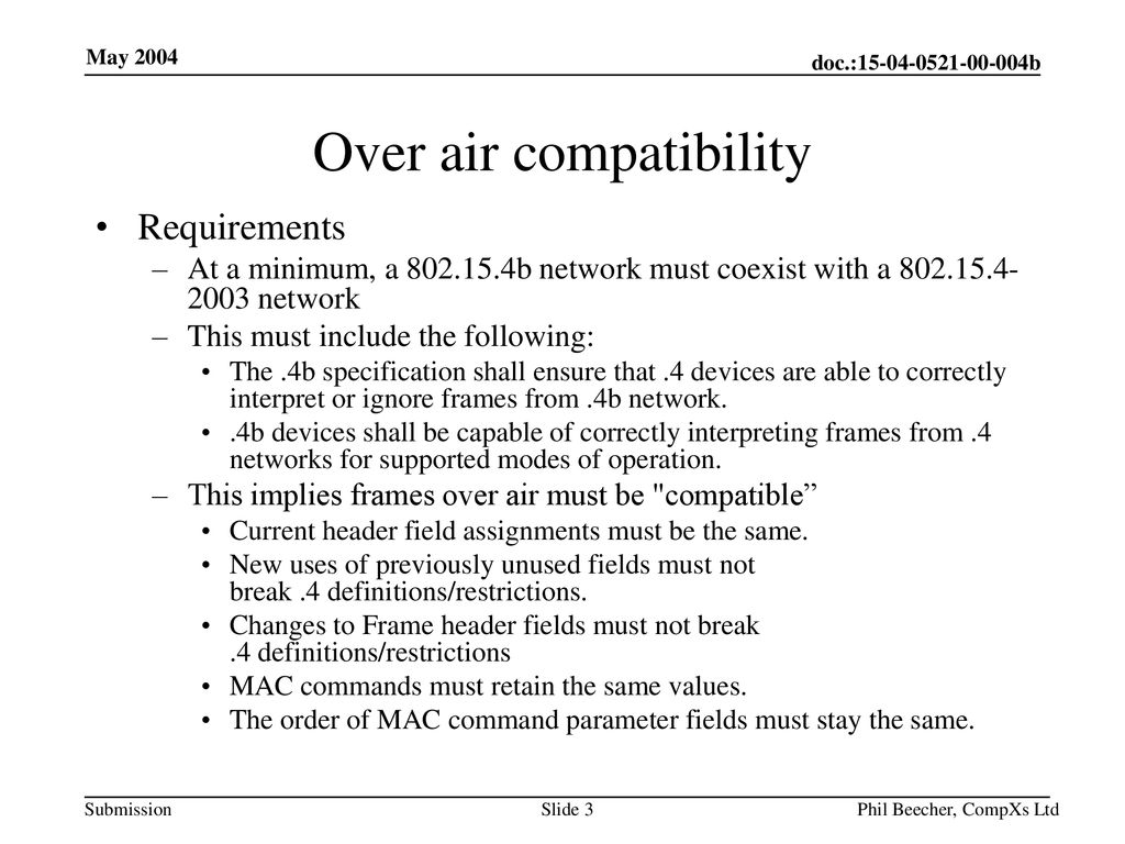 Over air compatibility