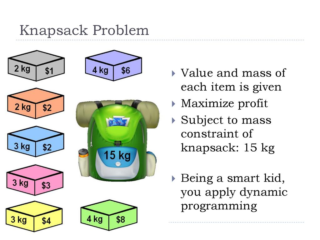 Dynamic Programming and the Knapsack Problem - ppt download