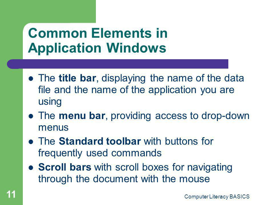 Common Elements in Application Windows