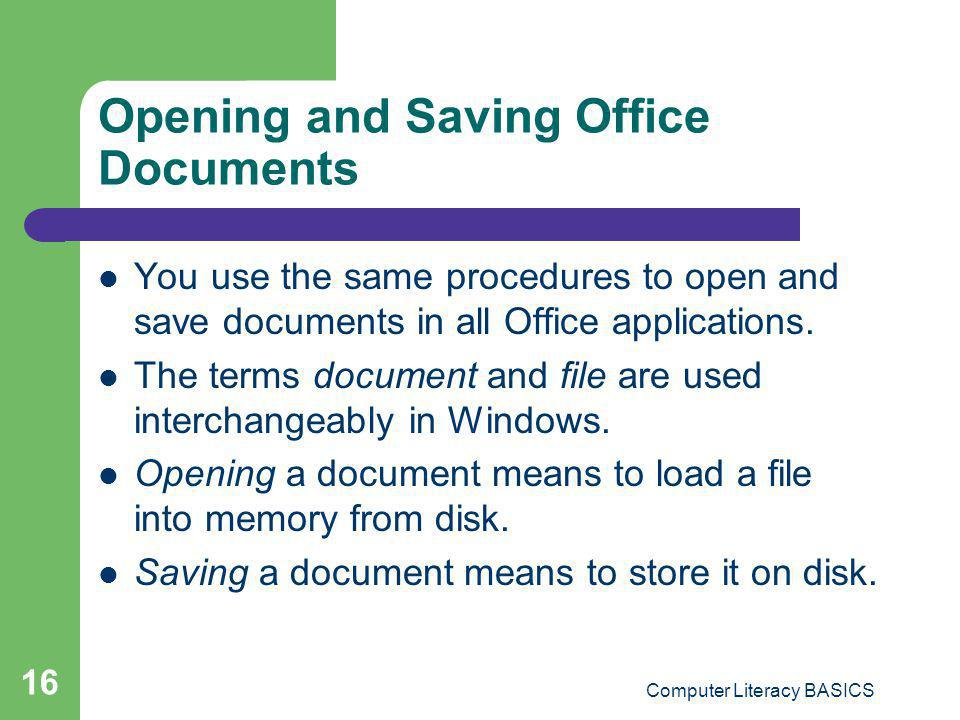 Opening and Saving Office Documents
