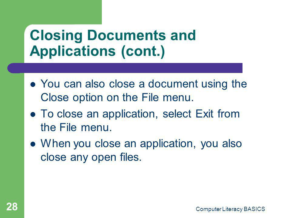 Closing Documents and Applications (cont.)