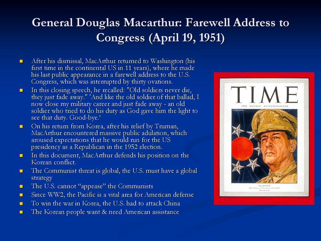 macarthurs farewell speech to congress