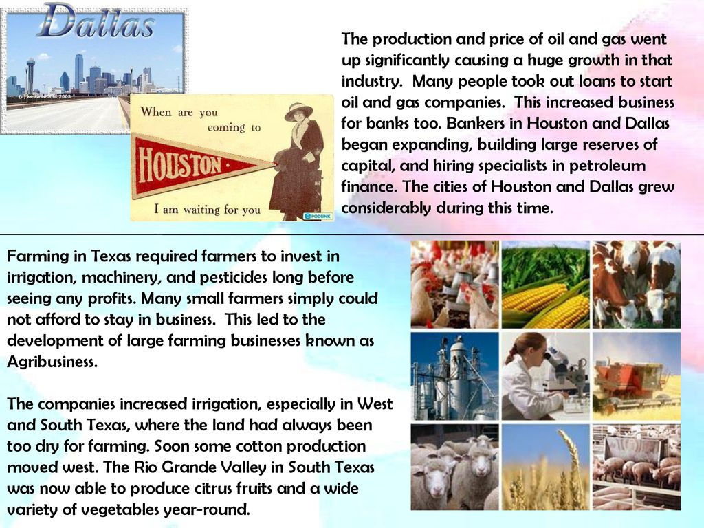 Ch 24: Modern Texas Texas industries continued to grow after