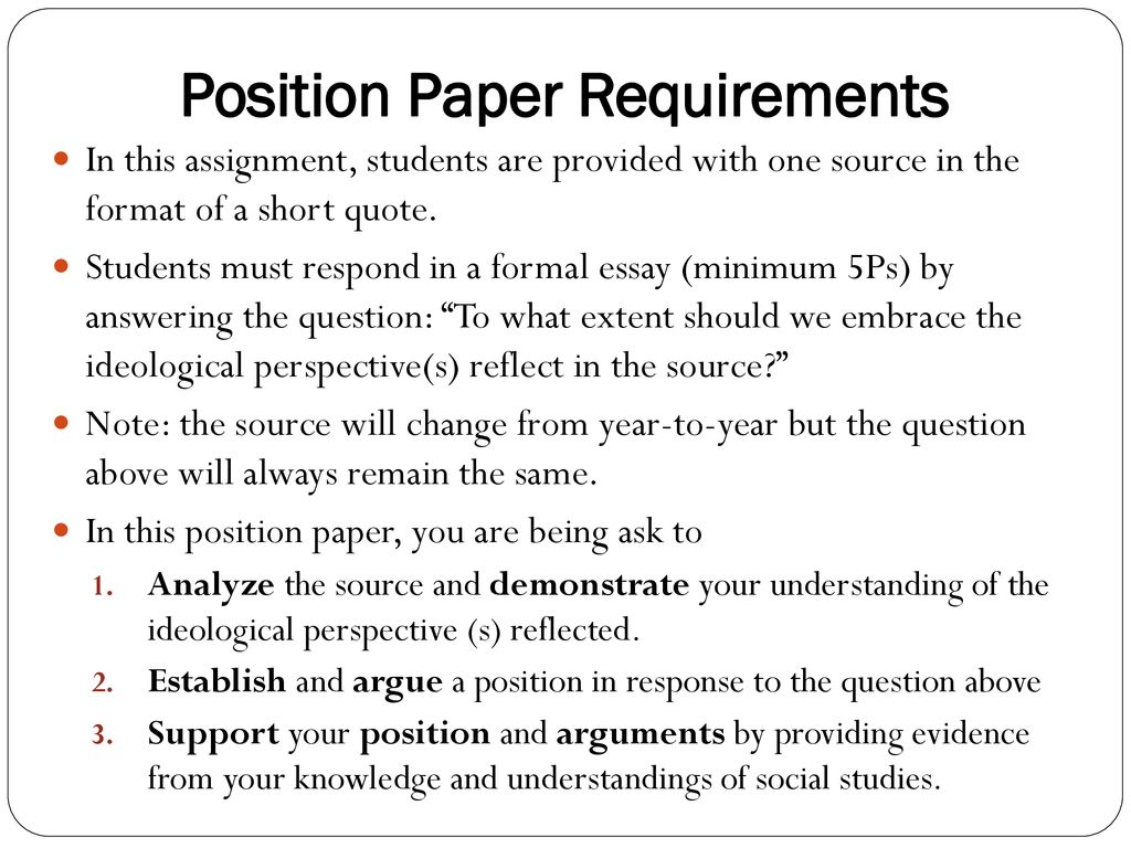 students guide to position papers assignment ii part a