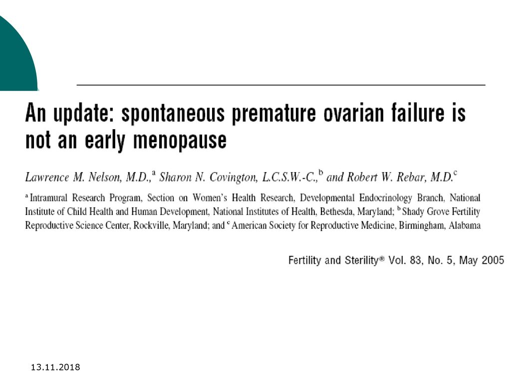 "POF"" Premature Ovarian Failure ""New Fronteries"" - ppt download"