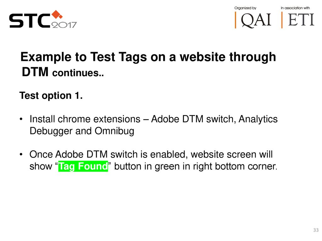 Dynamic Tag Management (DTM) and Tag Testing - ppt download