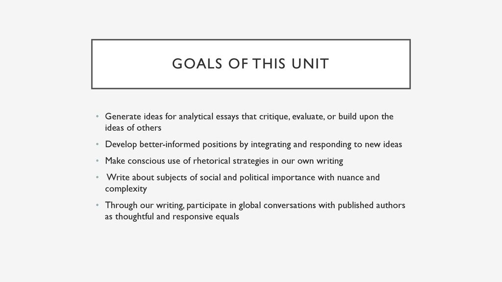 Attitudes Of Doubt And Belief Critique Essay  Ppt Download Goals Of This Unit Generate Ideas For Analytical Essays That Critique  Evaluate Or Build