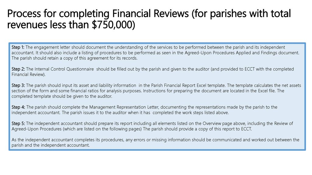 process for completing financial reviews for parishes with total revenues less than 750000