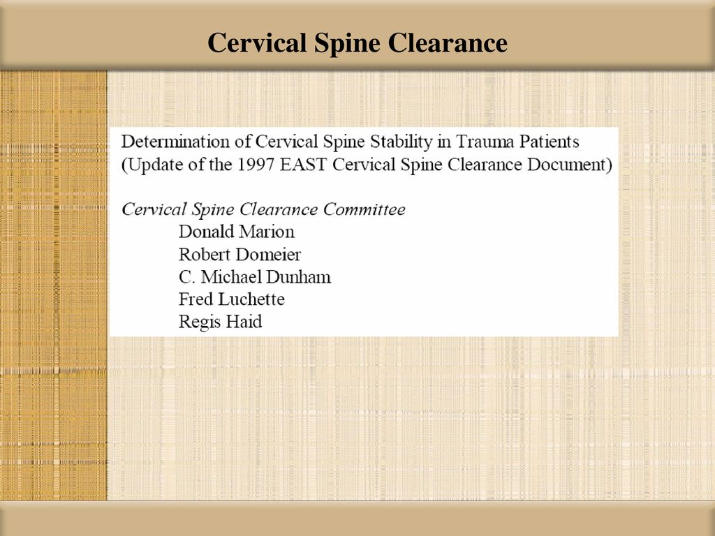 Cervical Spine Clearance