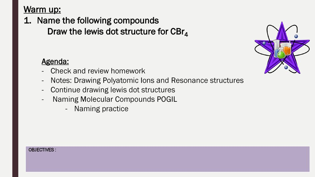 name the following compounds draw the lewis dot structure for cbr4