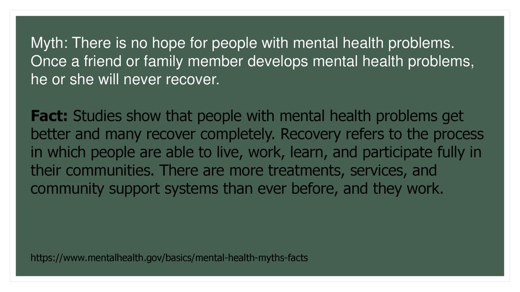 Dispelling Myths About Mental Health Ppt Download