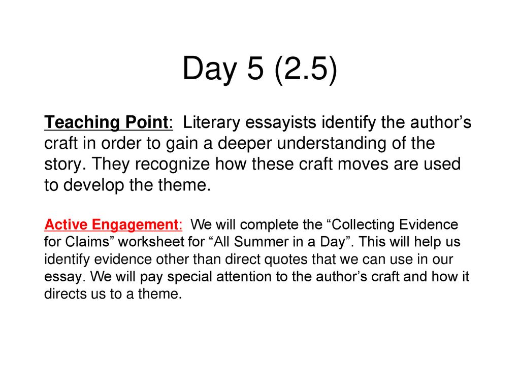 image regarding All Summer in a Day Worksheet titled Writers Workshop Literary Essay. - ppt obtain