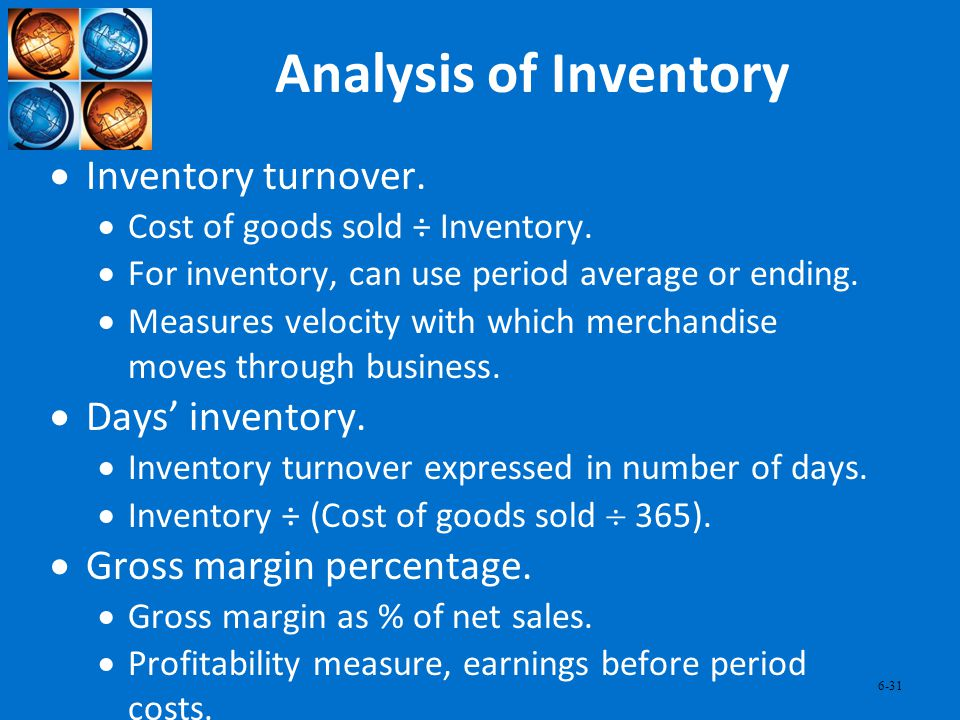 Analysis of Inventory Inventory turnover. Days' inventory.