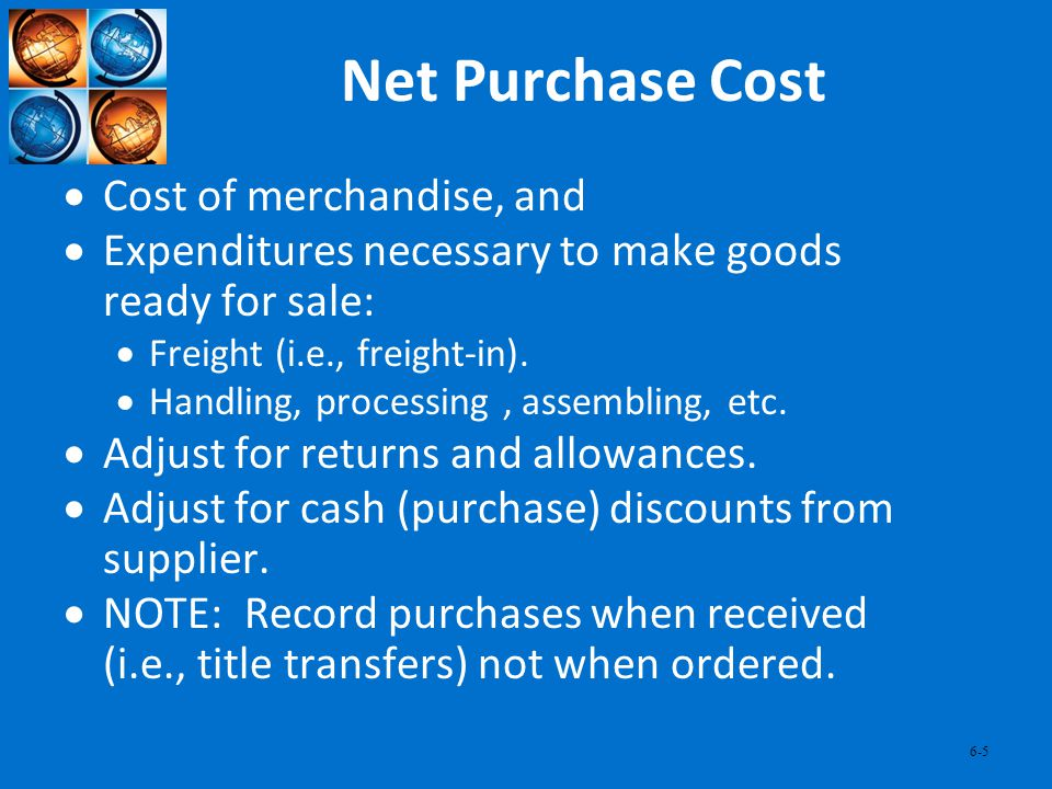 Net Purchase Cost Cost of merchandise, and