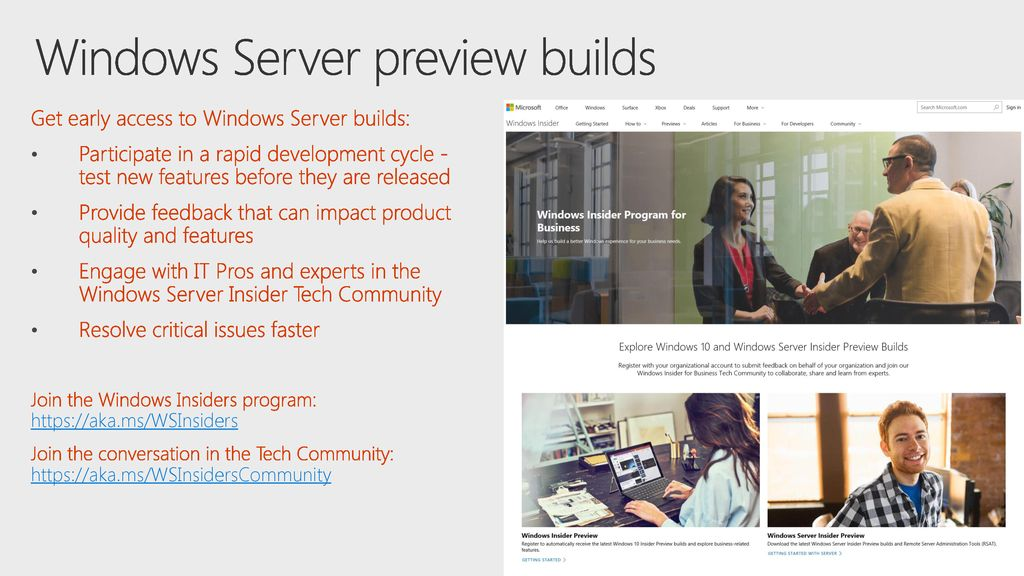 Windows Server preview builds