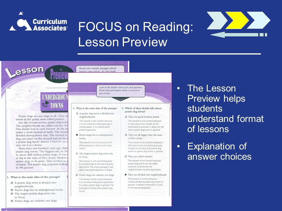 FOCUS on Reading: Lesson Preview