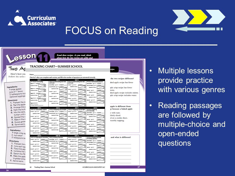 FOCUS on Reading Multiple lessons provide practice with various genres