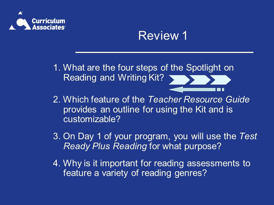 Review 1 1. What are the four steps of the Spotlight on Reading and Writing Kit
