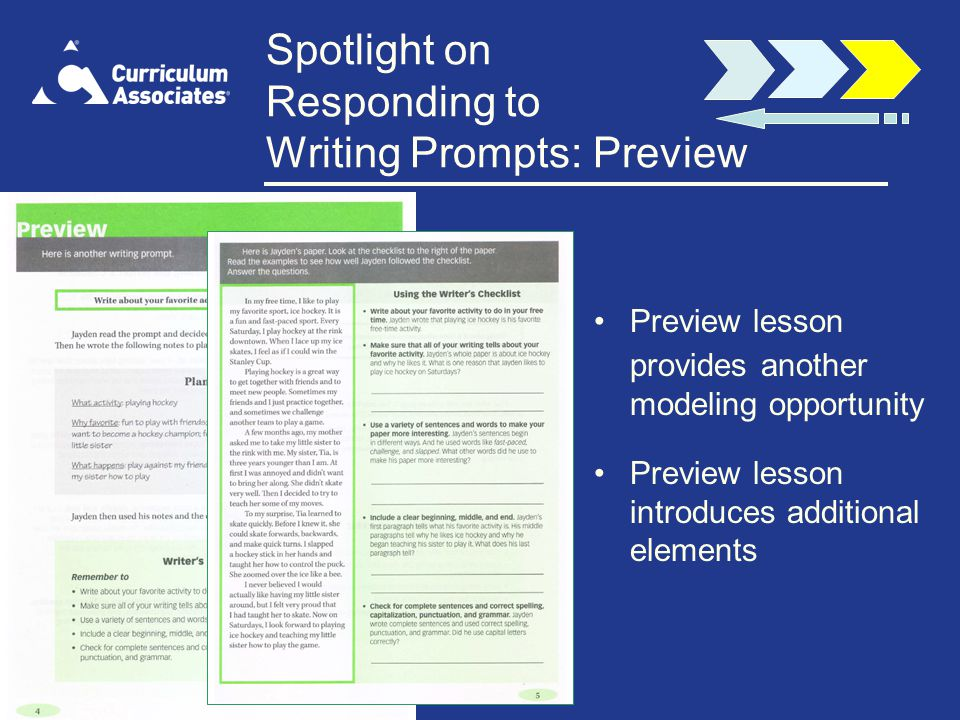 Spotlight on Responding to Writing Prompts: Preview