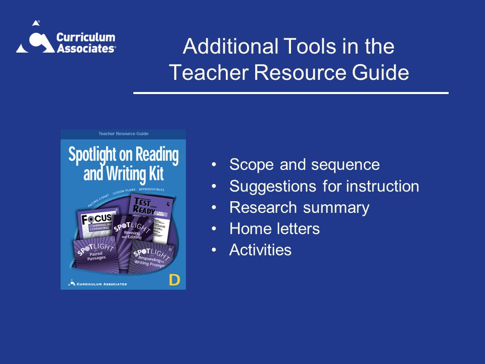 Additional Tools in the Teacher Resource Guide