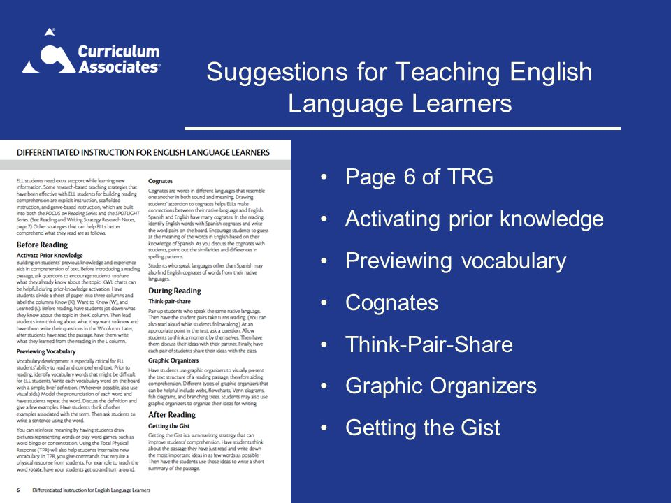 Suggestions for Teaching English Language Learners