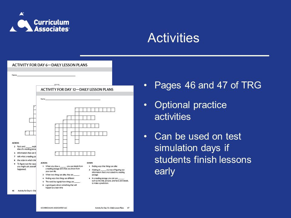 Activities Pages 46 and 47 of TRG Optional practice activities