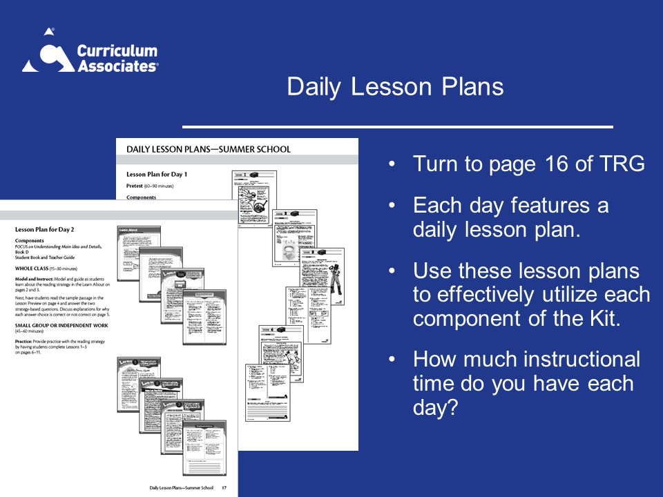 Daily Lesson Plans Turn to page 16 of TRG