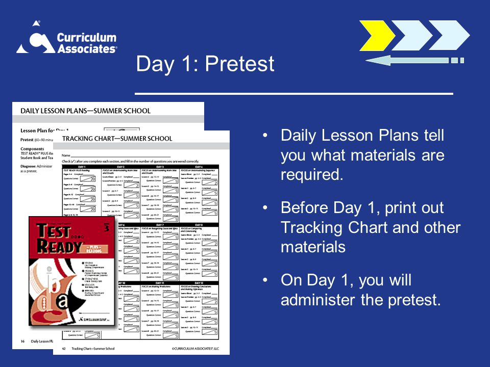 Day 1: Pretest Daily Lesson Plans tell you what materials are required. Before Day 1, print out Tracking Chart and other materials.