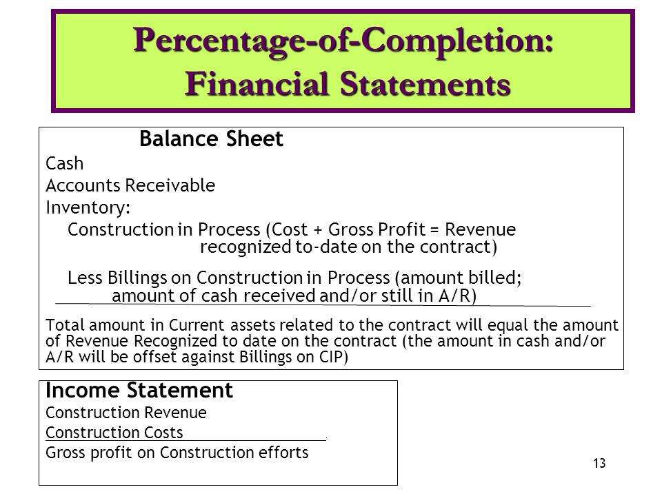 percentage of completion financial statements